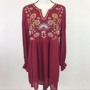 Umgee BoHo Burgundy Embroidered Dress